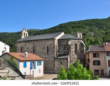 TARASCON, FRANCE - September 8, 2018. Church of Notre-Dame-de-la-Daurade, Rue de la Daurade, Tarascon-sur-Ariege, Ariege, Occitanie, France