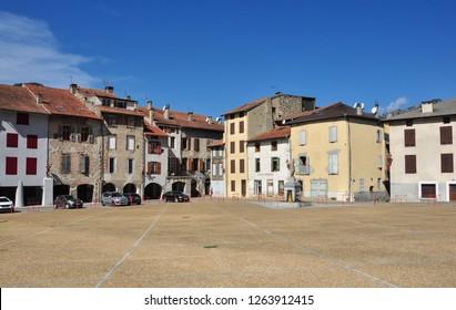 TARASCON, FRANCE - September 8, 2018. Place Felix Garrigou, Tarascon-sur-Ariege, Ariege, Occitanie, France