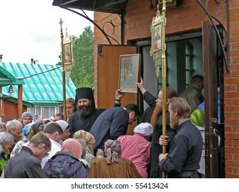 TARASKOVO, RUSSIA - MAY 23: Holiday of the Trinity in a man's monastery in village Taraskovo, Sverdlovsk region, May 23, 2010 in Taraskovo, Russia