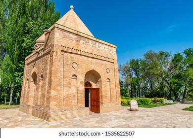 Taraz Aisha Bibi and Babazha Khatun Mausoleum Picturesque Breathtaking View of the Site on a Sunny Blue Sky Day