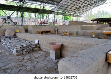 Taraz, Kazakhstan – April 8, 2019 - 9th century caravanserai (roadside inn) in Taraz