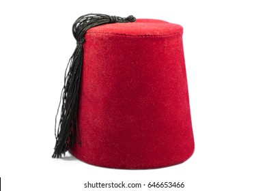 Tarboosh or Fez - traditional Turkish hat. Red conical hat with a black tassel on top.