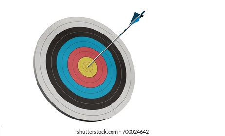 Target with a arrow - Target with a bow arrows in the middle of the target isolated on white - 3d render