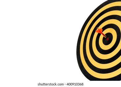 Target arrow hitting in bullseye on dartboard with copy space isolated on white background, Business concept