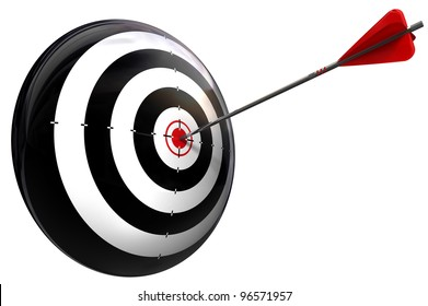 target and arrow perfect hit conceptual image isolated on white background with clipping path