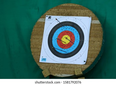 Target with arrows and holes on a green background. Black, red, blue and yellow circle of the target. Cropped shot, horizontal, close-up. Sport and hobby concept.