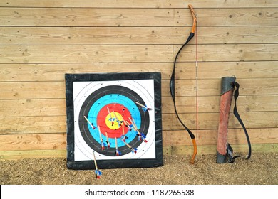 Target, bow and arrow old weapon system archery.