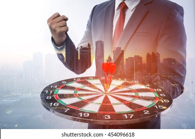 target business, achieve and target to victory concept .