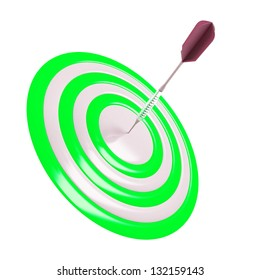 target and dart pin in the center on a white background