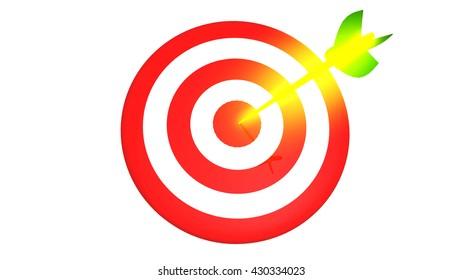 Target and golden arrow, business concept 3D illustration