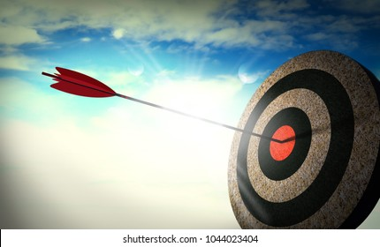 Target hit in the center, Arrow in the center of the target, successful.