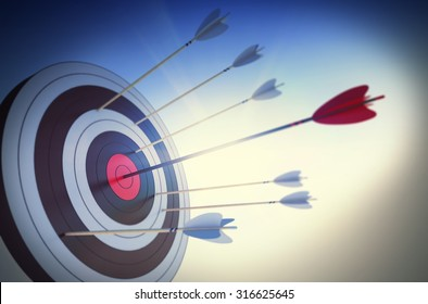 Target hit in the center by arrow
