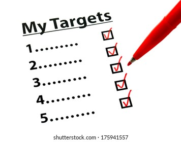 Target list out with tick