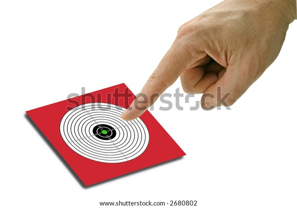 target with pointing finger on white background