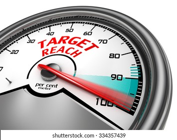 Target reach to hundred per cent conceptual meter, isolated on white background