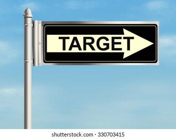 Target. Road sign on the sky background. Raster illustration.