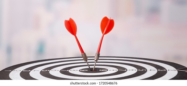 Targeting the business concept, Darts board close up