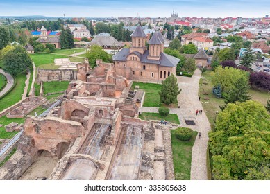 TARGOVISTE, ROMANIA - OCTOBER 04, 2015: Aerial view of ruins of Princely Court, in Targoviste, Romania, The Real Palace of Vlad Tepes, built in the 15th century.