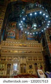 TARGU MURES, TRANSYLVANIA/ROMANIA - SEPTEMBER 17 : Decorative interior view of Ascension Cathedral in Targu Mures Transylvania Romania on September 17, 2018