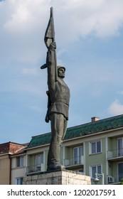TARGU MURES, TRANSYLVANIA/ROMANIA - SEPTEMBER 17 : Statue of the Unknown Romanian Soldier in Targu Mures Transylvania Romania on September 17, 2018