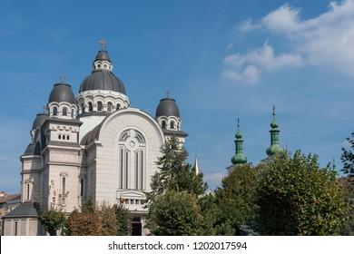 TARGU MURES, TRANSYLVANIA/ROMANIA - SEPTEMBER 17 : Ascension Cathedral in Targu Mures Transylvania Romania on September 17, 2018