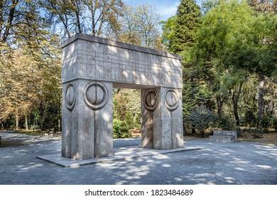 TARGU-JIU, ROMANIA-SEPTEMBER 25: Barbu Ganescu House ( casa Barbu Ganescu ) on September 25, 2020 in Targu-Jiu.  Constantin Brancusi lived here lived here during years 1937 – 1938.