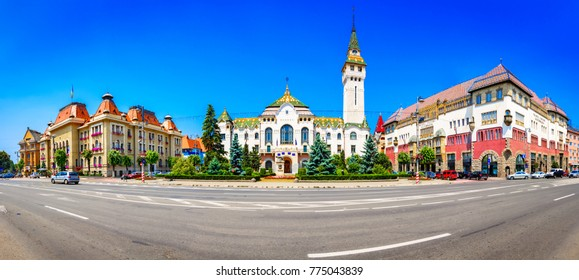 Targu-Mures, Romania, Europe. Street view of the Administrative palace and the Culture palace, landmark