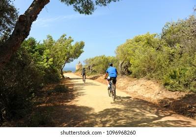 Tarifa, Spain - Aug 24, 2016: Bicycles in Caraminal Cape, Zahara de los Atunes, Cadiz province, Andalusia,  Spain
