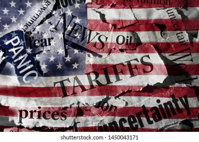 Tariff news headlines over an American flag