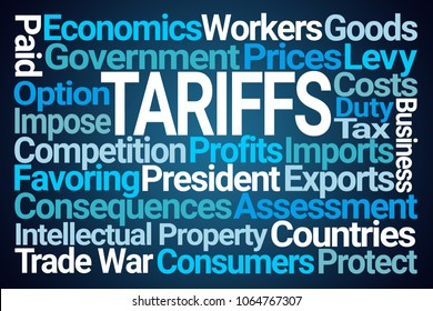 Tariffs Word Cloud on Blue Background