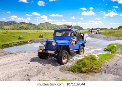 Tarlac, Philippines - April 15 2018, Tourist going to Mt.Pinatubo tracking