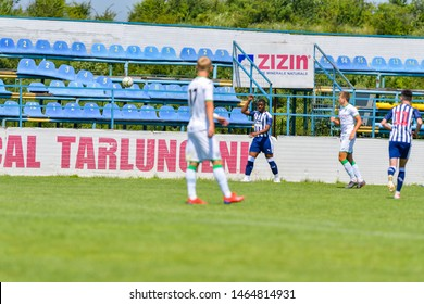 """Tarlungeni, Brasov, ROMANIA - 28. July:Brasov Cup 2019 """"XI"""" Edition. Undefined players in action during the match U19: West Bromwich Albion - FC Karpaty Lviv . 28 July 2019, Tarlungeni, Romania"""
