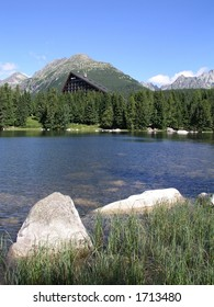 Tarn in Slovakia mountains with hotel