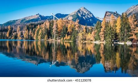 Tarn Strbske pleso at Slovakia. High Tatras mountains