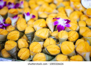 Tarn (Thai dessert) Toddy palm cake  in the  market at Warorot Market, Chiang Mai Thailand