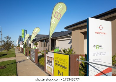 Tarneit, VIC/Australia-May 17th 2020:  display homes in Tarneit, a suburb in Melbourne's west. The area is now the site of several new housing estates.