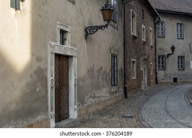 TARNOW, POLAND - FEBRUARY 08, 2016: Street in the Old Town with historic tenement houses.