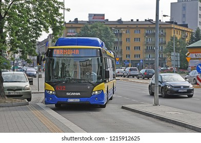 TARNOW, POLAND - JUNE 21, 2018 - New Scania CityWide 12 LF CNG buses, operated by MPK Tarnow