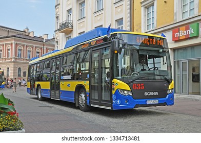 TARNOW, POLAND - JUNE 21, 2018 - Presentation of new Scania CityWide 12 LF CNG buses, operated by MPK Tarnow, in the centre of Tarnow