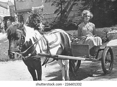 TARNOW,POLAND - CIRCA 1959 : vintage photo of girl and pony