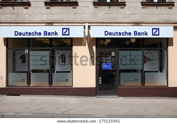 TARNOWSKIE GORY, POLAND - MAY 25, 2011: Deutsche Bank entrance in Tarnowskie Gory, Poland. DB exists since 1870 and employs more than 102,000 people (2010 data).