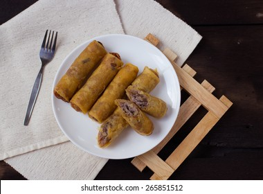 Taro fry spring roll cambodia and thai style food