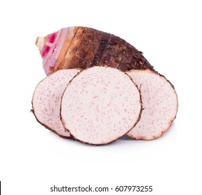 Taro, sliced of taro isolated on white background