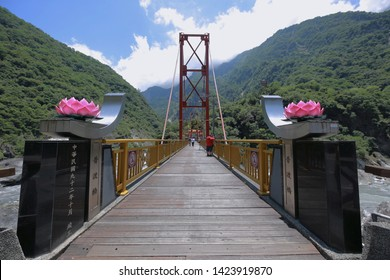 Taroko, Hualien,Taiwan - June 5, 2019: a view to Pudu bridge and pagoda at Tianxiang, Taroko national park
