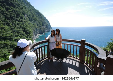 Taroko, Hualien,Taiwan - June 8, 2019: people enjoy the view of Cingshuei cliff at Taroko national park, Hualien, Taiwan