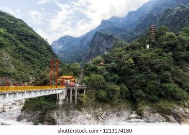 Taroko Tianxiang Scenic area with pagoda and Pudu bridge. Located in Taroko National Park in Taiwan