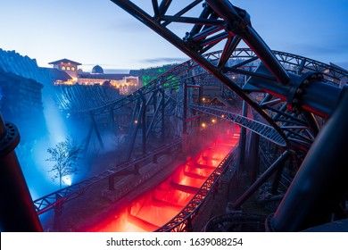 The taron roller coaster in german amusement park phantasialand on 02.01.2020