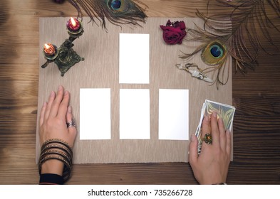Tarot cards mock up with copy space for your image or text on the fortune teller desk table. Tarot cards template.