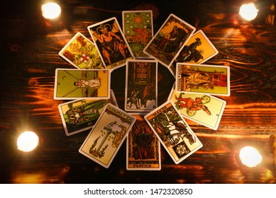 tarot cards for tarot readings psychic as well as divination with candle light / fortune teller reading future or former and present