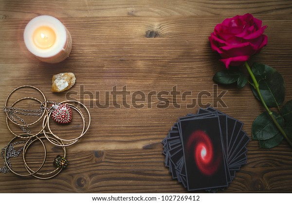 Tarot Cards Rose Flower On Fortune Stock Photo (Edit Now) 1027269412